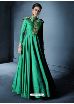 Jade Green Soft Tapeta Silk Embroidered Designer Floor Length Suit