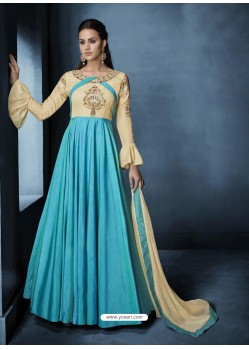 Sky Blue And Cream Banarasi Silk Embroidered Designer Floor Length Suit