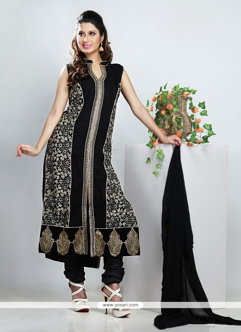 Stupendous Black Georgette Churidar Suit