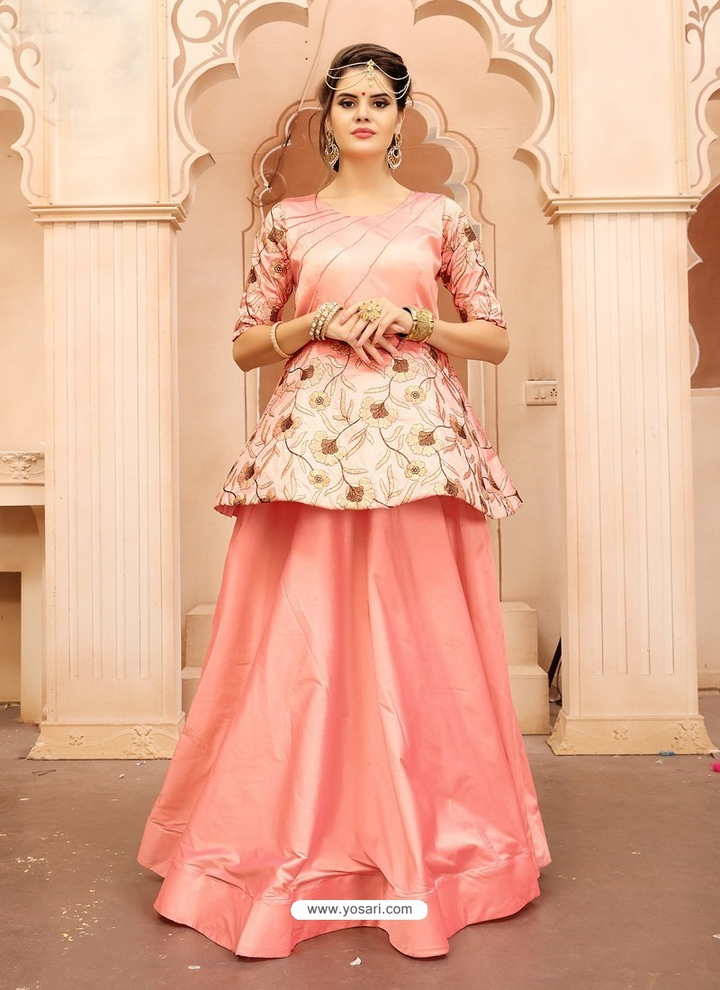 Buy Peach Embroidered Taffeta Silk Designer Readymade Gown | Gowns