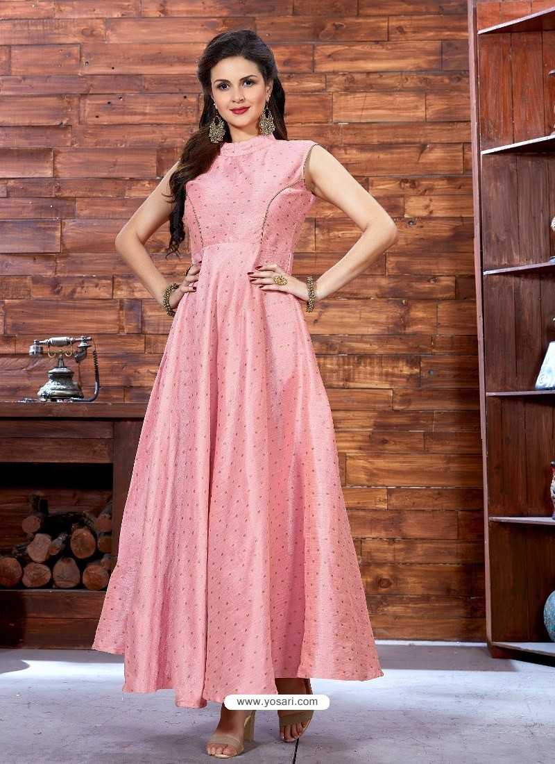 Buy Pink Printed Malbari Silk Designer Readymade Gown   Gowns