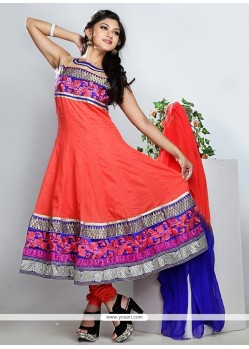 Fab Red And Blue Cotton Anarkali Suit