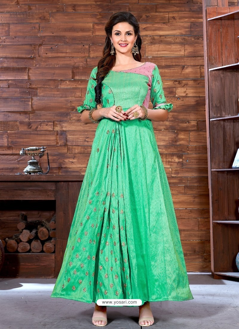 Buy Jade Green Printed Malbari Silk Designer Readymade Gown | Gowns
