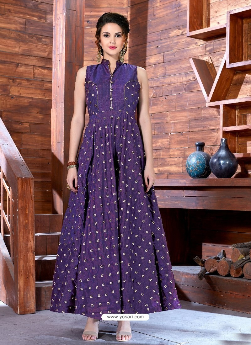 96bb44515c08 Buy Purple Malbari Silk Designer Embroidered Readymade Gown
