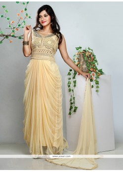 Graceful Cream Net Anarkali Suit