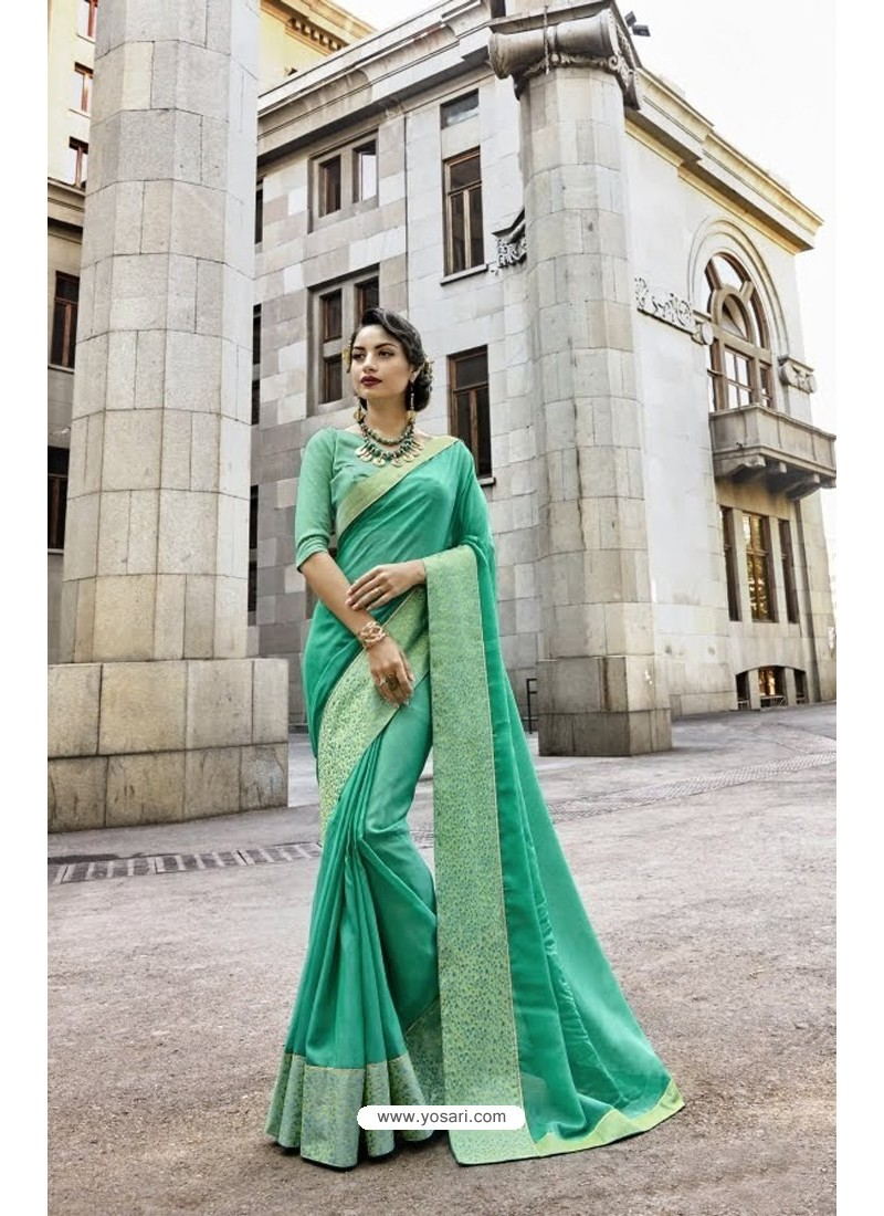 16fb30d5e0bd7b Buy Jade Green Designer Art Silk Saree