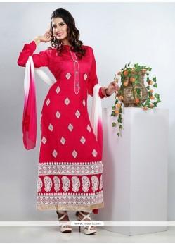 Dazzling Magenta Resham Work Churidar Suit