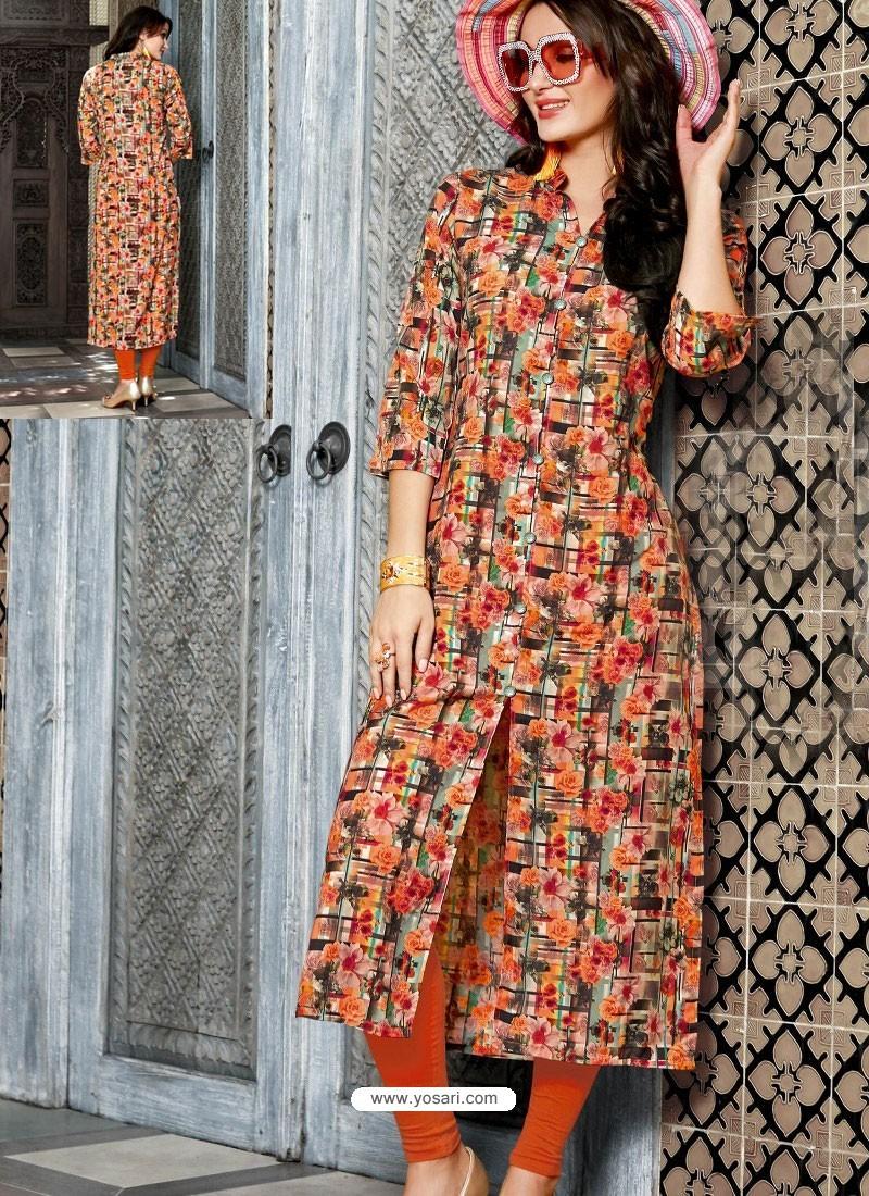 Buy Orange And Multi Colour Printed Linen Readymade Kurtis