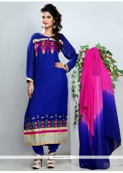 Stylish Blue Georgette Churidar Salwar Kameez