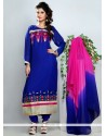 Stylish Blue Georgette Churidar Salwar Kameez