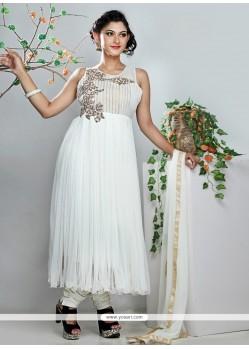 Stellar White Net Designer Anarkali Suit