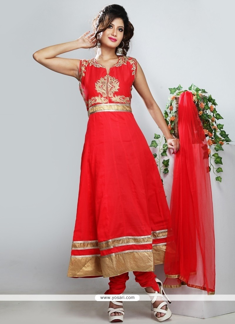 Modish Red Cotton Anarkali Salwar Suit