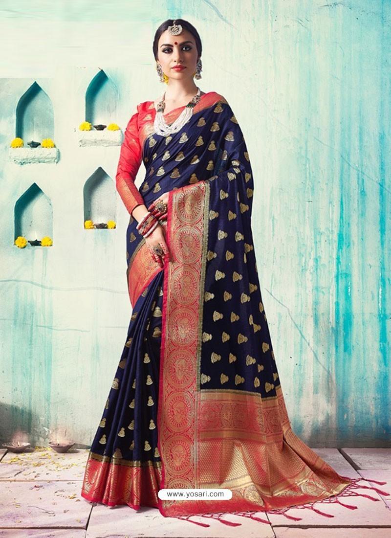 99f33dc1b Buy Navy Blue Silk Border Worked Designer Party Wear Saree