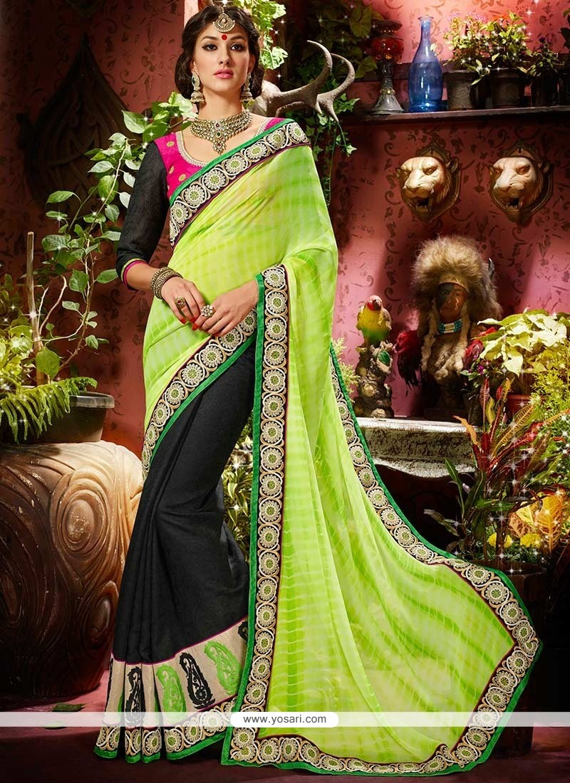 Fab Green And Black Faux Georgette Saree