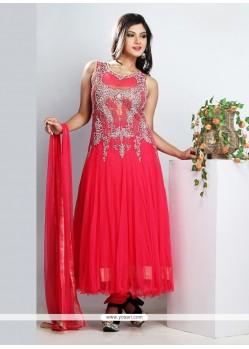 Classy Pink Net Designer Anarkali Suit