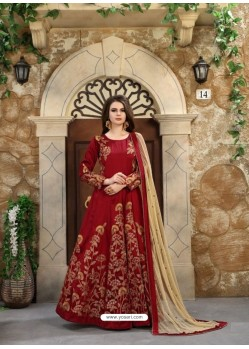 Wine Embroidered Mulberry Silk Designer Floor Length Suit