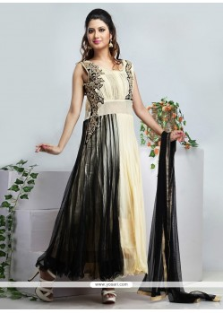 Black And Cream Net Anarkali Suit