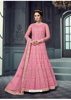 Light Pink Heavy Butterfly Net Designer Embroidered Anarkali Suit
