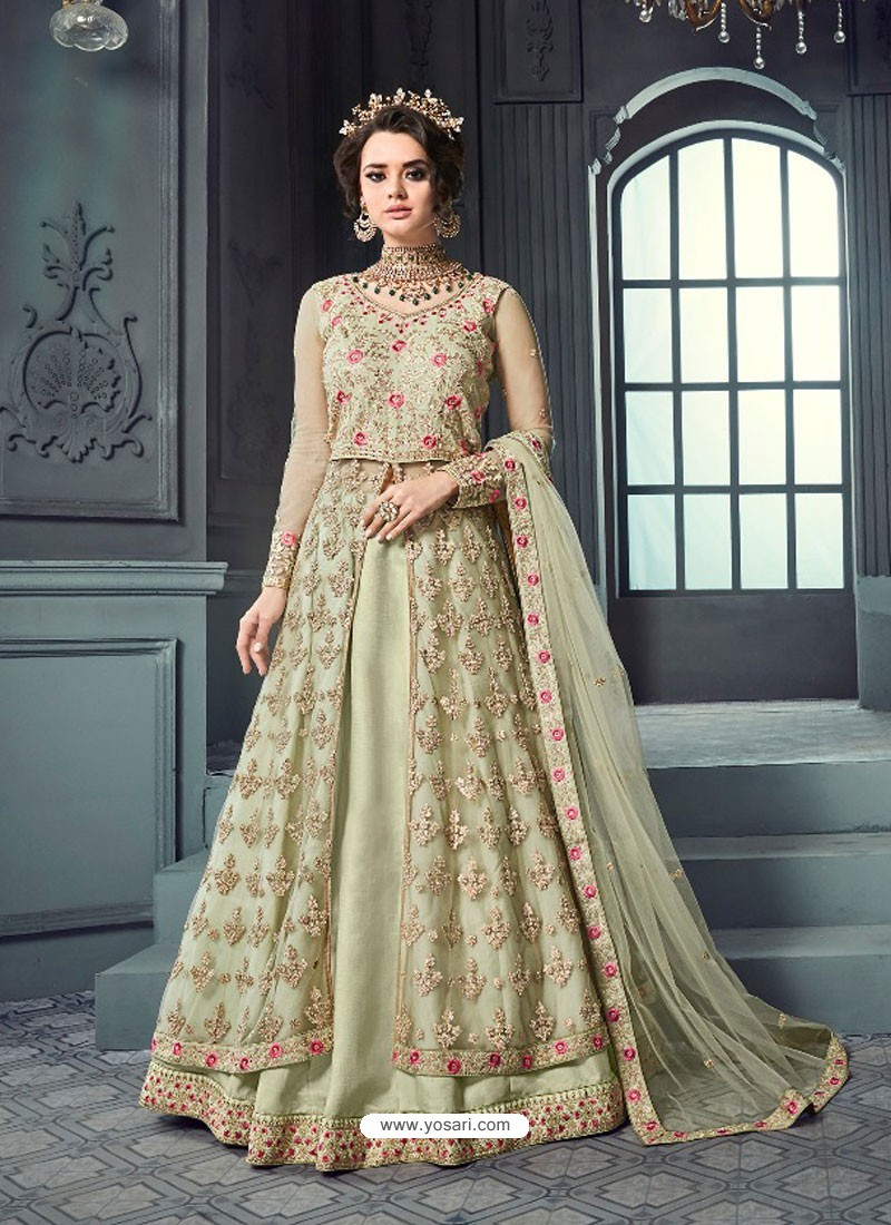 71b77fa2cc Buy Olive Green Heavy Butterfly Net Designer Embroidered Anarkali ...