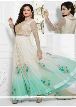 Enthralling Cream Georgette Designer Anarkali Suit