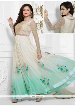 Enthralling Cream Georgette Designer Anarkali Suit