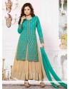Elite Sea Green Georgette And Net Anarkali Suit