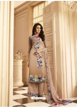 Light Beige Sorer Crepe Digital Printed Designer Palazzo Suit