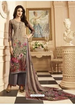 Beautiful Multi Colour And Dusty Pink Sorer Crepe Digital Printed Designer Palazzo Suit