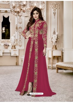 Red Heavy Embroidered Fox Georgette Designer Floor Length Suit