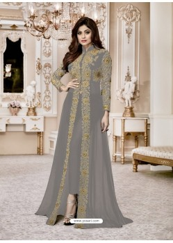 d9c0fb8c33f Grey Heavy Embroidered Fox Georgette Designer Floor Length Suit