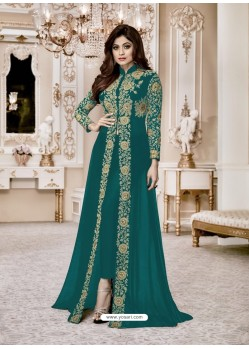 Teal Heavy Embroidered Fox Georgette Designer Floor Length Suit