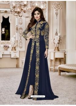 Navy Blue Heavy Embroidered Fox Georgette Designer Floor Length Suit