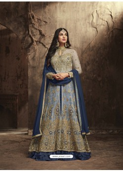 Navy Blue And Cream Heavy Embroidered Net Designer Anarkali Suit