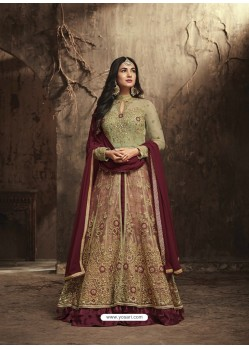 Maroon And Cream Heavy Embroidered Net Designer Anarkali Suit