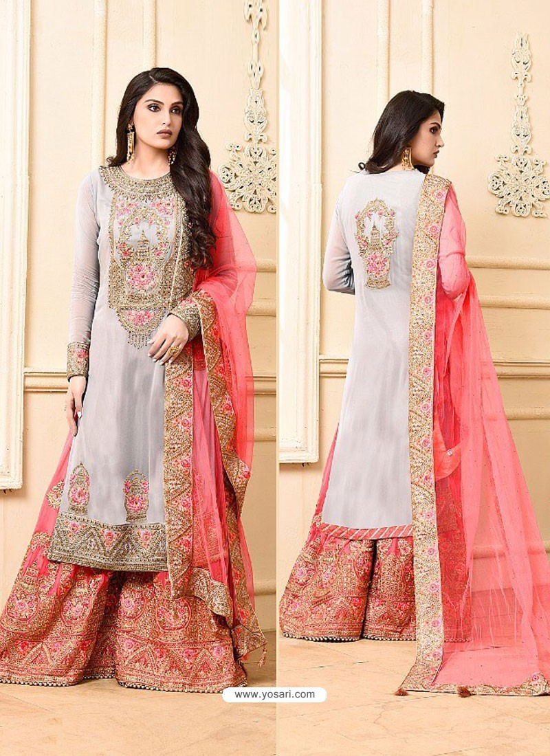a45e77029f3 Buy Grey And Pink Georgette Heavy Embroidered Designer Sarara Suit ...