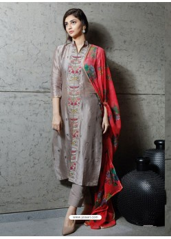 Dull Grey Pure Silk Designer Embroidered Straight Suit