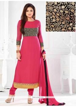 Pink Georgette Resham Work Churidar Suit