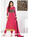Pink Georgette Resham Work Churidar Suit