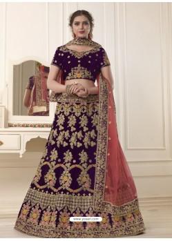 Beautiful Purple Embroidered Velvet Designer Lehenga Choli