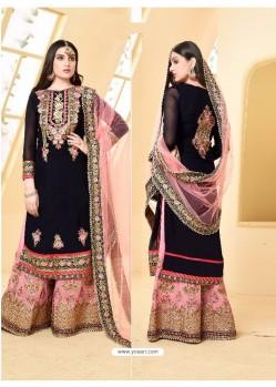 Dark navy blue And Pink Faux Georgette Designer Embroidered Sarara Suit