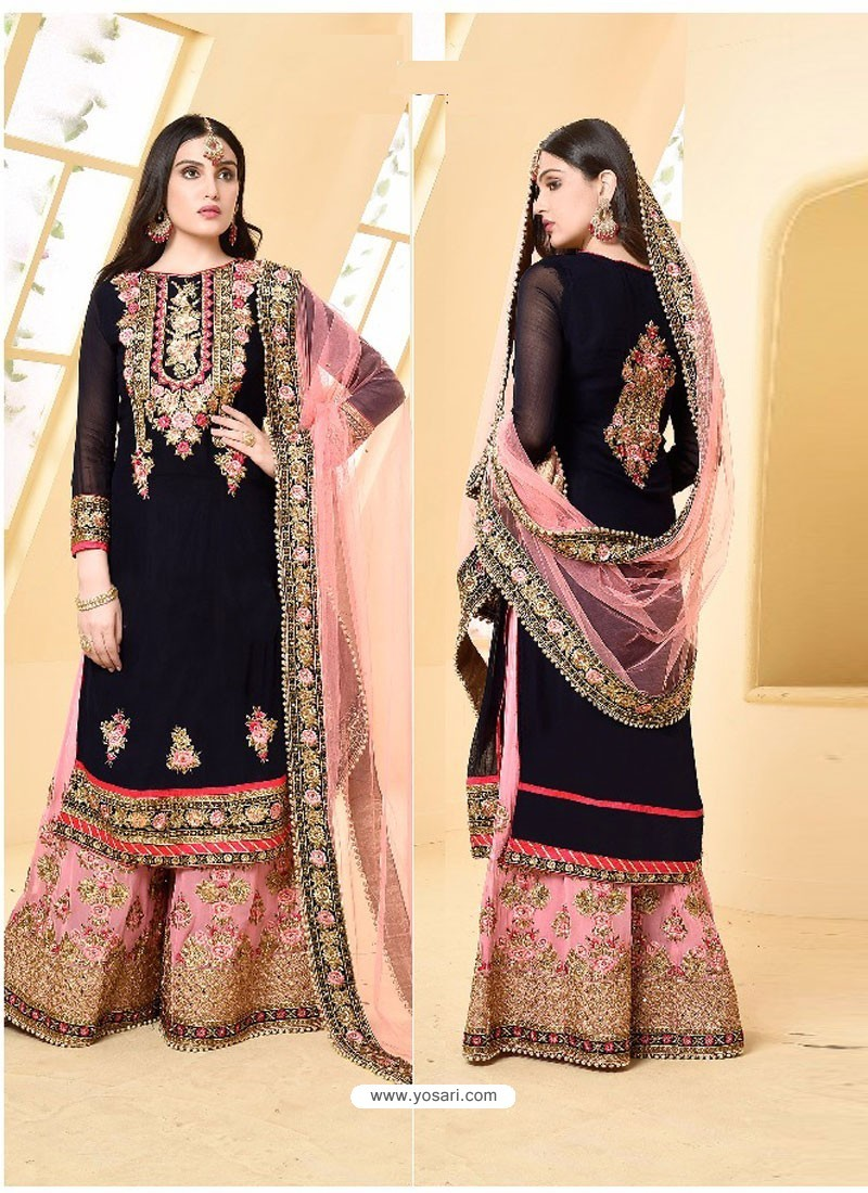c257bf34d2 Dark navy blue And Pink Faux Georgette Designer Embroidered Sarara Suit