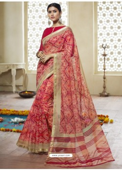 Red Printed Designer Cotton Silk Saree
