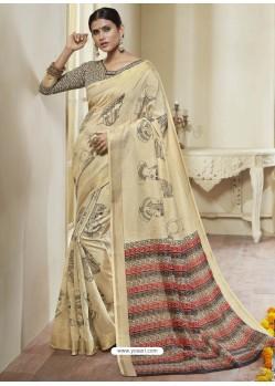 Cream Printed Designer Cotton Silk Saree