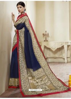 Navy Blue Printed Designer Cotton Silk Saree