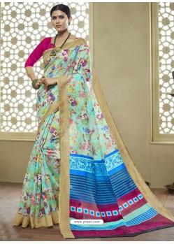 Sky Blue And Multi Colour Printed Designer Cotton Silk Saree