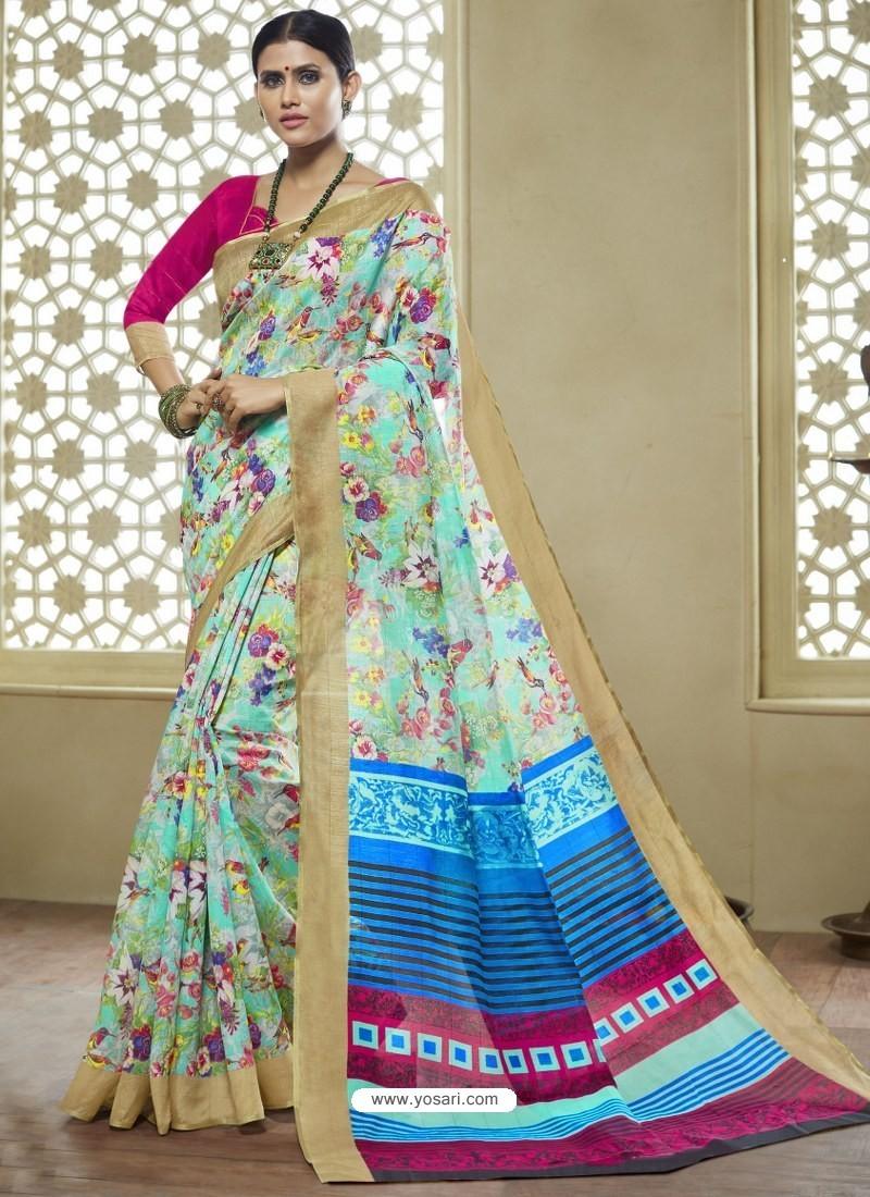 b6c62294dd Buy Sky Blue And Multi Colour Printed Designer Cotton Silk Saree ...