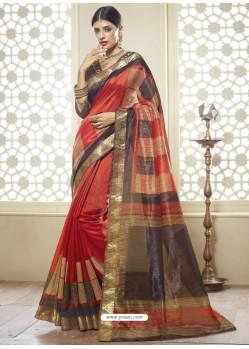 Tomato Red Printed Designer Cotton Silk Saree