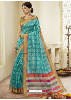 Aqua Mint Printed Designer Cotton Silk Saree