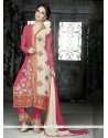 White And Pink Resham Work Pakistani Suit