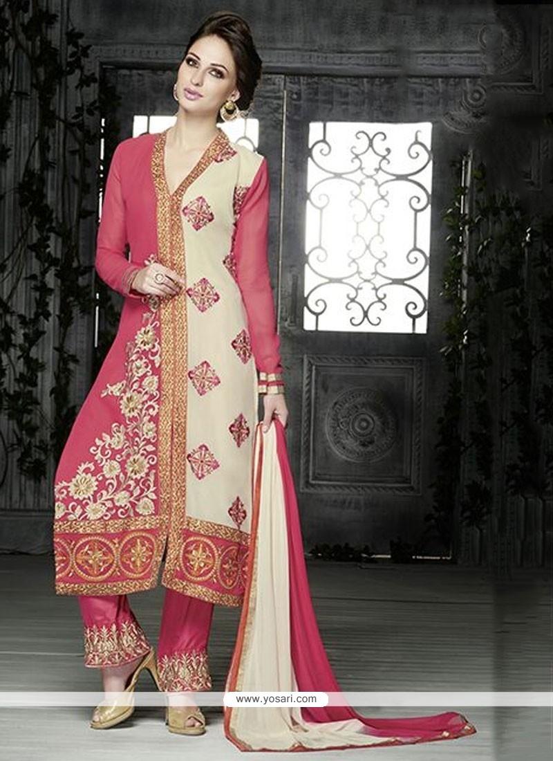 White And Pink Resham Work Pakistani Suit